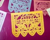 Wedding decorations - AMOR Papel Picado Banners - custom color