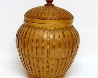 Woven Bamboo Basket Jar with Lid