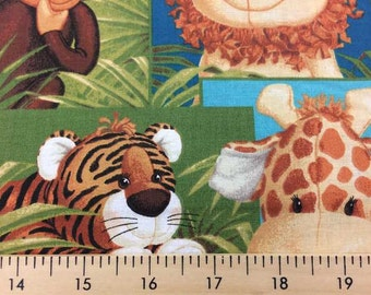 Jungle Babies Fabric with Baby Animals By the Yard, Quarter Yard, Fat Quarter Patty Reed Monkey Giraffe Tiger Cotton Quilting Fabric t5-34