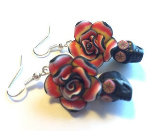 Sugar Skull Earrings Dia De Los Muertos Black Red Rose Skull Earrings
