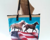 Tote Bag with Zip Top, Repurposed Horse Feed Bag, made in Maine, eco-friendly
