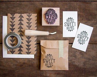"Custom Hand-Carved Rubber Stamp of Your Logo (up to 2"" x 2"") - Great for Marketing Materials Branding Packaging and more"