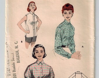 Vintage 50's Misses Tailored Shirt Sewing Pattern Buttoned Band Front Sleeveless Long or Short Full Sleeves Mid Century Blouse Top Bust 32