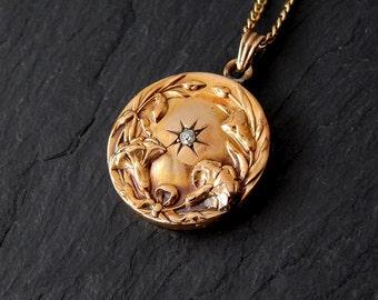 Art Nouveau Pendant: 10k gold pendant, Diamond, 14k gold chain, floral, flower, circle, hollow pendant, 1900, 1800, victorian necklace