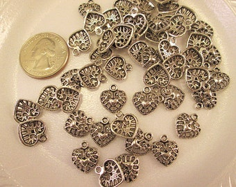 Heart Charms, Bulk Charms, Antique Silver Metal Heart, Small Filigree Heart, 13x14mm, One Sided Design