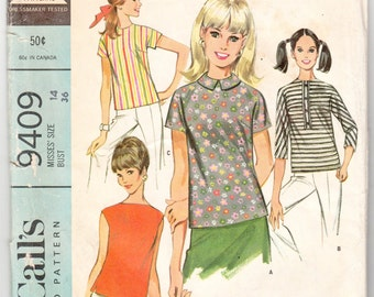 "Vintage Sewing Pattern Ladies' Blouses McCall's 9409 34"" Bust - Free Pattern Grading E-book Included"