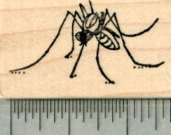 Mosquito Rubber Stamp D30207 Wood Mounted