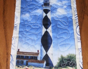 Black and White Lighthouse Mini Quilted Wall Hanging