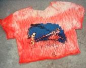 Sword Girl vs. Banana Robot graphic tee / upcycled coral orange Shibori boxy short sleeve crop top
