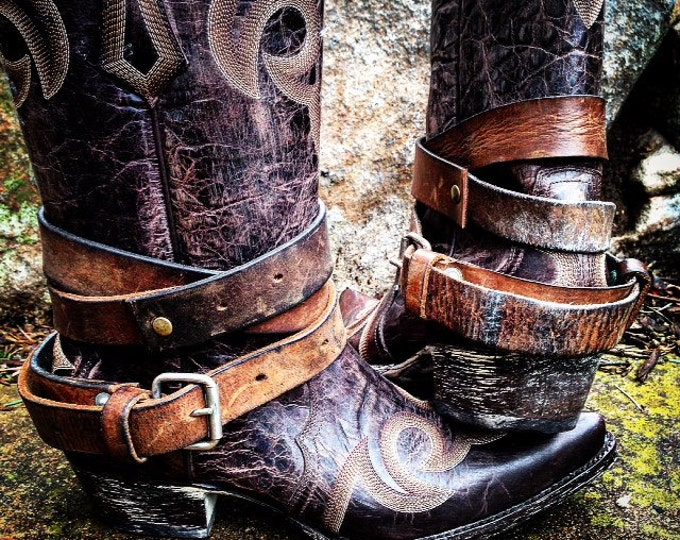 Distressed Vintage Genuine Leather Adjustable Layered Boot Belts, Medium to Dark Brown, OLD WEST BOHEMIAN ~ Made to Order