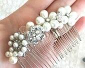 Rhinestone Brooch and Pearl mix bridal hair comb, vintage rhinestone, brooch jewelry, bridal comb, ivory pearl comb, wedding hair comb