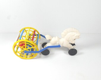 Horse and Plastic Wheel Vintage 70's Toy