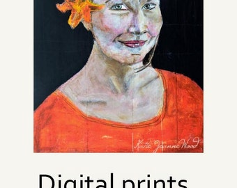 Gritty Jane Woman Portrait Painting Print. Art Lovers Gift. New Apartment Wall Art Digital Print. Home Wall Art Prints. Miz Katie Art