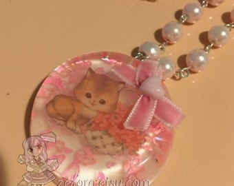 Vintage Kitty Cat Round Resin Pendant Bow Baby Pink Beaded Necklace