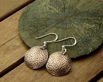 Celtic copper earrings | celtic knot | textured copper earrings | copper dangle earrings | celtic jewelry | 1.5"
