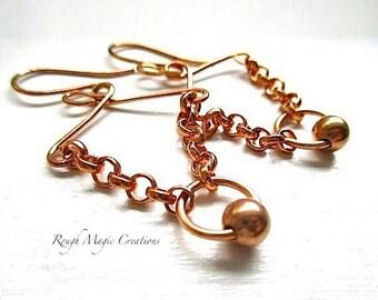Abstract Boho Earrings. Copper Earrings. Rustic Chain Dangles. Edgy Metal Jewelry