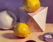 "Art painting still life ""Lemons on Purple"" original by Oregon artist Sarah Sedwick 8x8"""