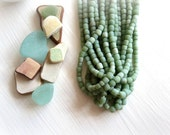 small matte green bead, soft green glass bead, irregular barrel tube spacer, New Indo-pacific 3 to 6 mm / 22 inche strand - 5A4-23