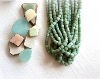 small matte green bead, soft green glass bead, irregular barrel tube spacer, Modern Indo-pacific 3 to 6 mm / 22 inche strand - 5A4-23