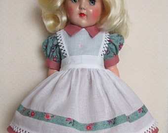 "For 19"" P-92 Ideal Toni Doll - One of a Kind Pinafore Dress Inspired by Original"