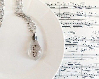 LIVE Light Bulb Inspiration Typography Resin Pendant Necklace