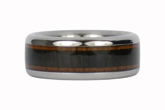 Dark Koa and Blackwood Titanium Ring