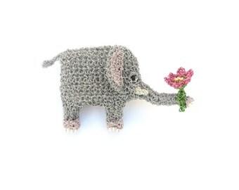 Elephant brooch - elephant holding a flower, crochet animal jewelry, cute romantic elephant, handmade wildlife jewelry, elephant art