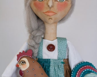 One of a Kind Primitive Hand-Painted Old Woman Folk Art Doll holding Turquoise, Tan, Red Rooster -- Signed, Numbered Collectible  Sculpture