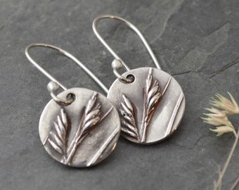 Sterling Silver Buffalo Grass Earrings from the Prairie of Kansas with Argentium Silver Ear Wires
