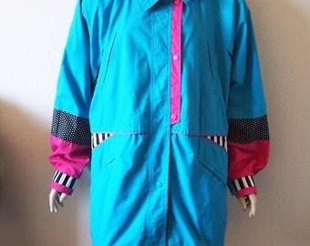 BLIZZARD // Vintage 80s Ski Jacket Womens Large Abstract Print Kawaii Jacket Fairy Kei Pastel Grunge 1980s Coat Colorful