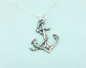 Anchor Necklace - Gift - Charm Necklace - Jewelry - Anchor Rope Necklace - NauticalJewelry - Silver Necklace - Nautical Wedding