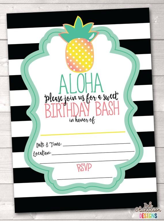 Items similar to Pineapple Birthday Party Printable ...