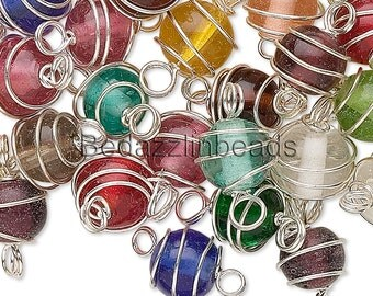 50 Assorted Color Silver Wire Wrapped 7mm - 8mm Round Loose Glass Link Beads w/ Loops