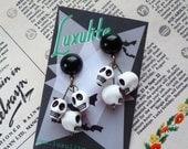 Halloween Collection... SKULLS! Miniature skulls 1940s 50s vintage inspired Earrings by Luxulite