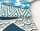 Hand Printed Fabric - Shades of Blue SALE