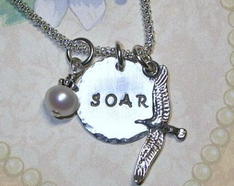 Soar Necklace, Seagull Necklace, Seagull Hand Stamped Sterling Silver Initial Charm Necklace