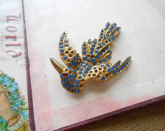 blue rhinestone gold bird brooch large brooch for repurposing AS IS