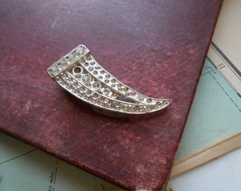 art deco pot metal silver horn pin clip antique rhinestone jewelry  - costume jewelry 1940s