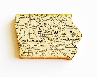 1907 Iowa Brooch - Pin / Unique Wearable History Gift Idea / Upcycled Antique Wood Jewelry / Timeless Gift Under 50