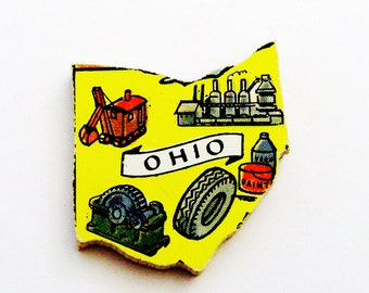 1960s Ohio Brooch - Pin / Unique Wearable History Gift Idea / Upcycled Vintage Hand Cut Wood Jewelry / Timeless Gift Under 25