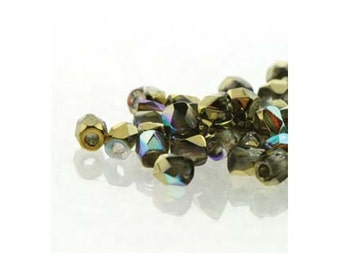 True2 Czech Firepolish Beads 2mm 18503 Crystal Gold Rainbow (2gr about 200 beads), Tiny Round Glass Beads, Faceted Glass Beads