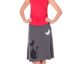 Unique Gift for Cat Lovers, Cat skirt, Graphic skirts, Jersey knit skirts, Charcoal Grey Aline Midi Summer Skirt - Our cat and the moon