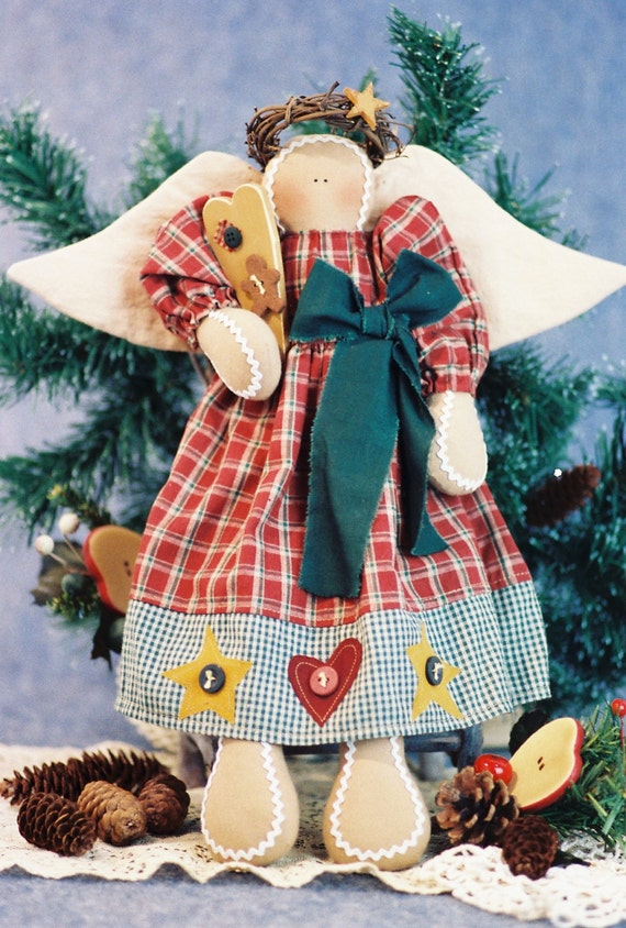Mailed Cloth Doll Pattern  16in Gingerbread Holiday Angel Doll