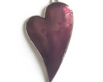 1 pc - Silver Plated Base Purple Enameled Heart  Pendant - Heart 75x42mm-(413-042SP)