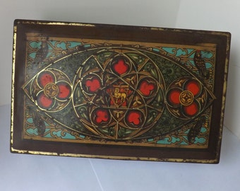 Antique Art Deco Canco hinged candy tin gothic revival motif with lion rampant gothic arches rose window modern farmhouse decor