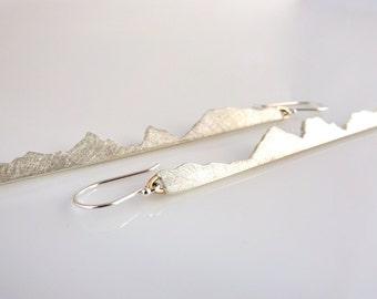 Custom Mountain Earrings, Dangle Bar Earrings Handmade with Recycled Silver & 14k yellow Gold, Mountain, Mountain Wedding, Mountain Bride