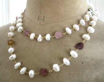"""Opera Length Baroque Pearl and Tourmaline Necklace-Pearl Necklace-""""Rosebud"""""""