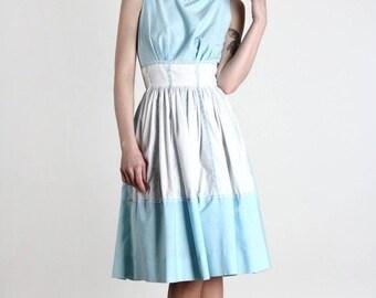 ON SALE Blue & White Dress . Milkmaid .1960s