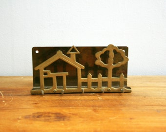 vintage 70s Brass School House and Tree Letter Holder Key Bill Holder Wall Hanging Key Hook // Closet Organizer // Retro Decor