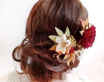 fall hair accessories, fall hair clip, red burgundy hair flower, floral hair piece, orange, bridal headpiece, autumn wedding hair accessory